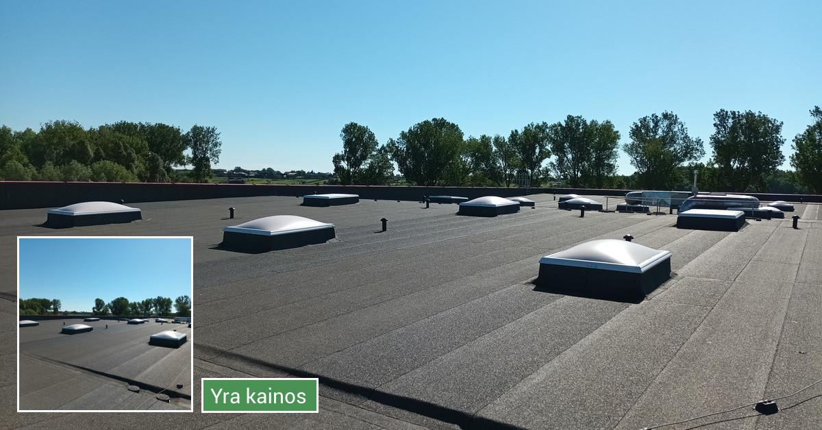 Ploksciu stogu dengimas prilydoma bitumine danga
