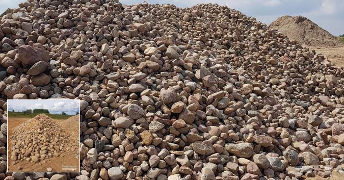 Skalda, akmenukai, žvyras-smėlis, juodžemis