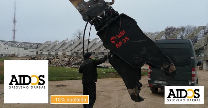 Ekskavatoriaus Cat336d 37 tonų (žirklės, plaktukas) nuoma