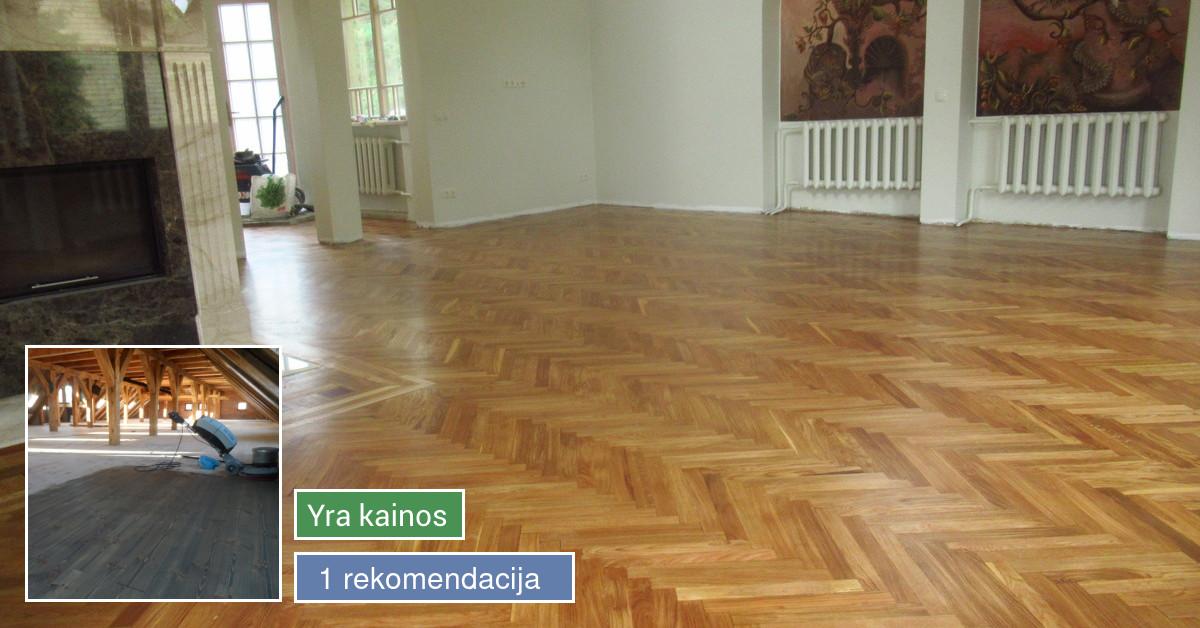 Parketo,grindų šlifavimas su 3 lakavimais 5€/m2