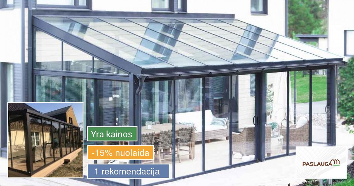 Aliuminio stiklo konstrukcijos, fasadai, terasos