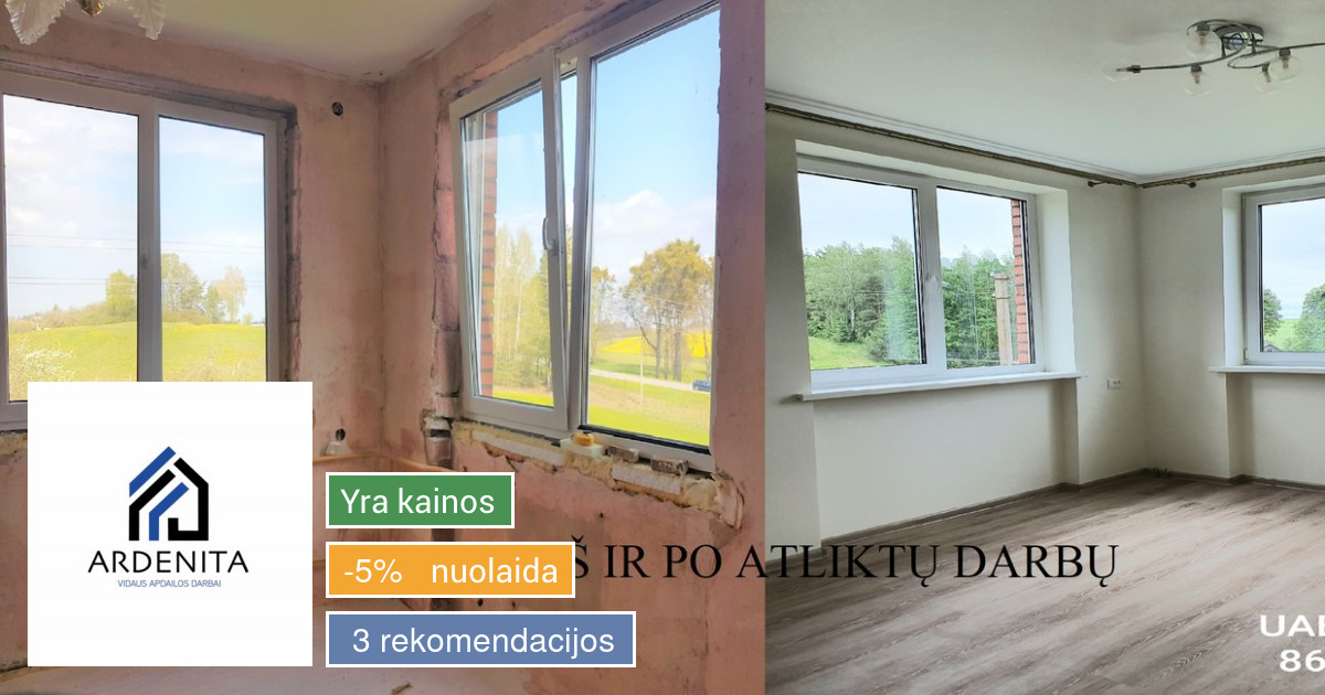 Vidaus apdailos darbai Kauno regione