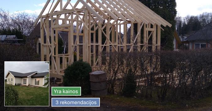 Karkasiniu namu statyba remontas  renovavimas Stogu dengimas
